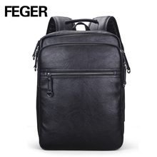 Wholesale Black Brown Mens Day Backpack Pu Leather Made in China