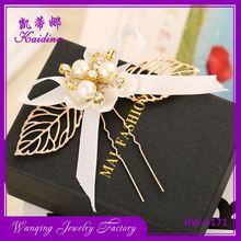 Most popular big pearl gold leaf bridal hair side comb