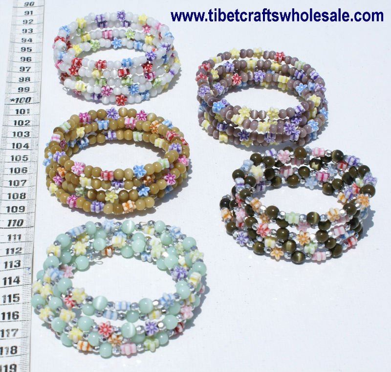 Handmade Hand Crafted Bracelets Colorful Pearls and Flowers Girls Female Jewelry Wholesale