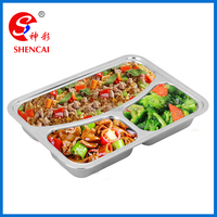 3 section stainless steel fast food plate metal serving tray