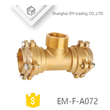 EM-F-A072 Socket type brass reducing tee flange male thread pipe fittings