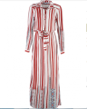 latest Arab clothing fashion designs women muslim wholesale Stripy dress with printed embroidery effect abaya dubai models