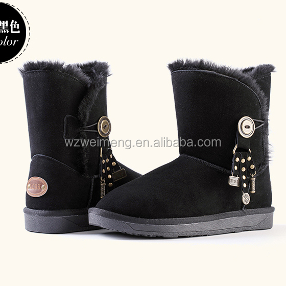2014 Warm plush lining high quality rubber sole cow suede stylish brown leather boots