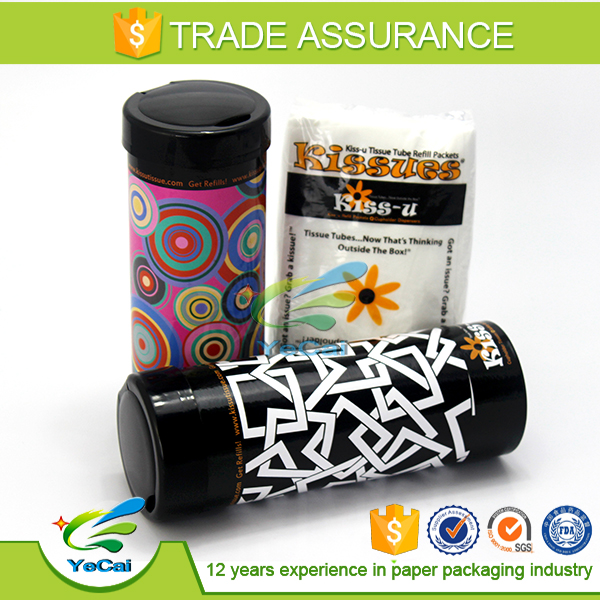 2016 Custom Printed Tissue Paper Tube With Plastic Lid Multipurpose Usage yecai packing
