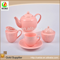 Cream pink unique design ceramic coffee pot tea pot
