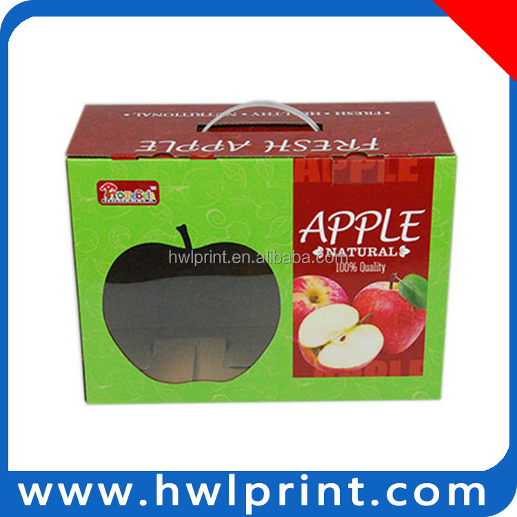 2015 apple fruit packaging corrugated boxes with plastic handles