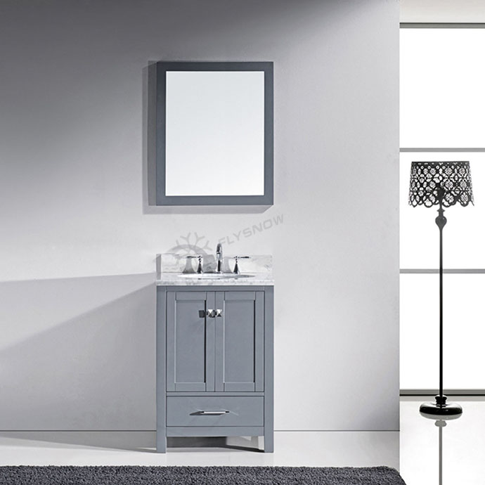 Classic american small vanity foot standing marble sink <strong>oak</strong> wood bathroom cabinet with mirror