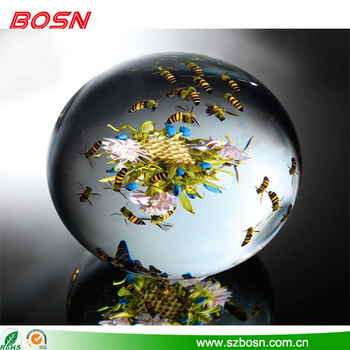 Beautiful & elegant clear fake bee & flower inside acrylic paperweight