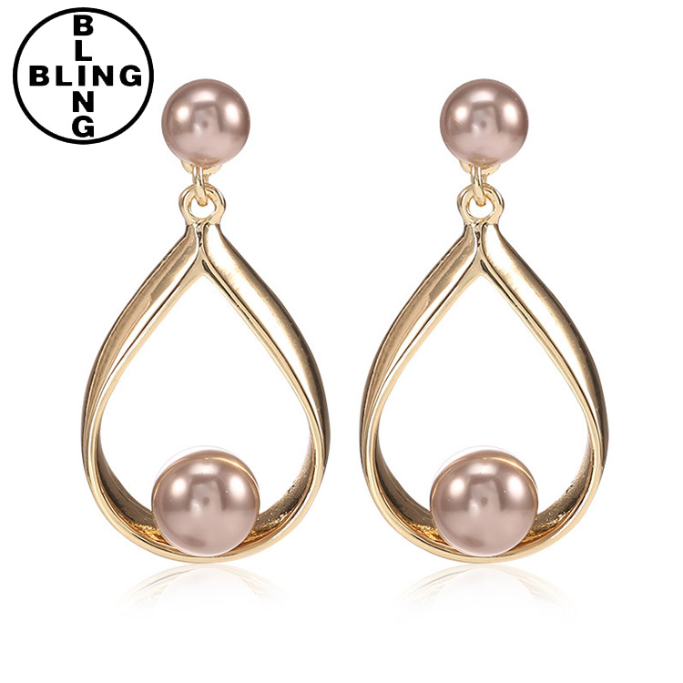 >>>Wholesale jewelry gold pearl earrings, women pendant drop earring.