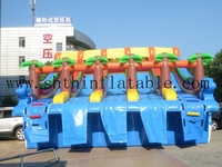 durable 5 lanes slide inflatable slide, giant inflatable water slides for kids and adults