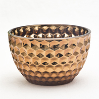 Popular antique brass surface glass honeycomb pattern bowl luxuary glass bowl