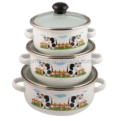 3pcs enamel casserole set with glass lid whosales good quality cheap price