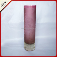 Wholesale purple cyindrical glass vases / Decorative vase with flowers
