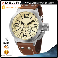 Big face stainless steel back 10 atm water resistant stainless steel watch chronograph for man