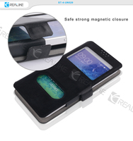 Book style strong magnetic closure flip leather case for mobile phone universal