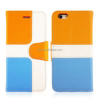 2014 contrast color series pu shell for iphone 6 plus leather case