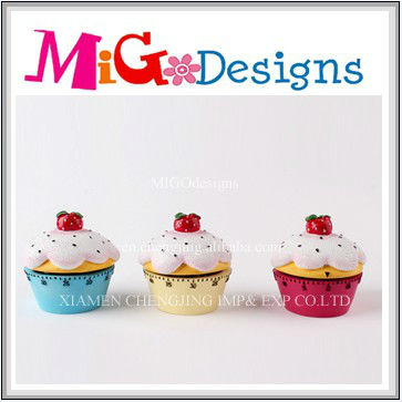 hot sales polyresin cupcake timer custom design welcome