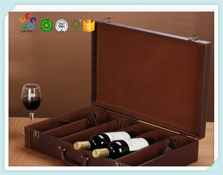 logo printed rectangle leather handle red wine box