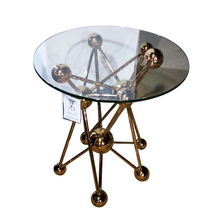 living room stainless steel round coffee table with black tempered glass home <strong>furniture</strong>