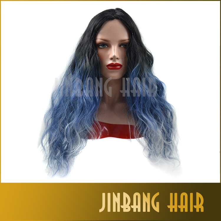 Loose Wave Ombre Wig Synthetic Lace Front Wig Long Natural Black/Blue/Grey Three Tone Hair Heat Resistant Wigs For Women