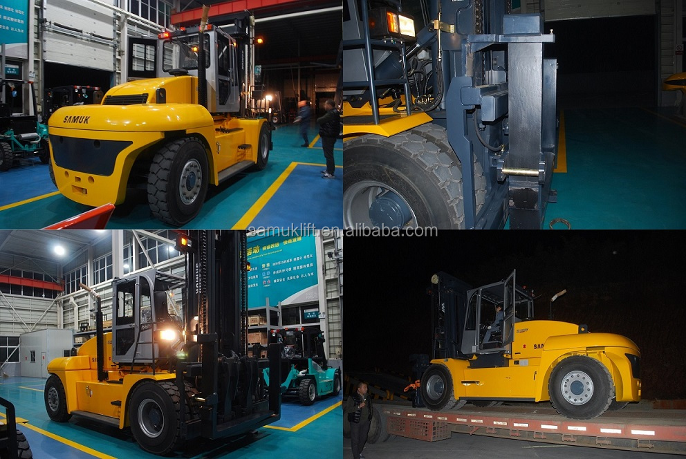 Diesel Engine Forklift 30 Ton , Lifting Equipment Used Forklift FD300 With Air Conditioner