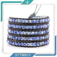 2016 new model welcome customized bead leather wrap bracelet