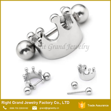 Surgical Steel Crown Ball Cartilage Tragus Barbell Hoop