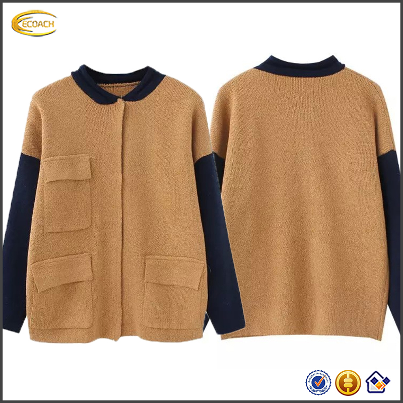 Ecoach high quality cardigan manufacturers2016 womens fashion Colorblock Pockets Cardigan knitwear