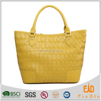 S225-A2013 2015 new arrival yellow color leather woven bag ladies high end handbags