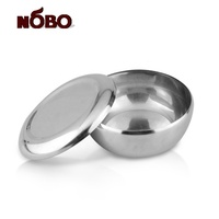 Korean multifunction portable food serving bowl stainless steel rice bowl with lid