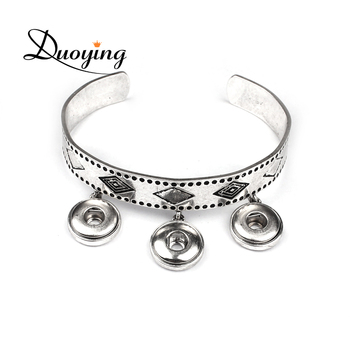 Cheap Sell Online Open Snap Button Jewelry Unisex Friendship Bracelet with Pendant