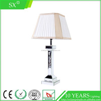 Modern square pleat faux silk fabric shade hotel bedroom table floor lamp