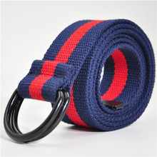 preferred eco-friendly campus teenager colorful canvas polyester belt D buckle weave belt