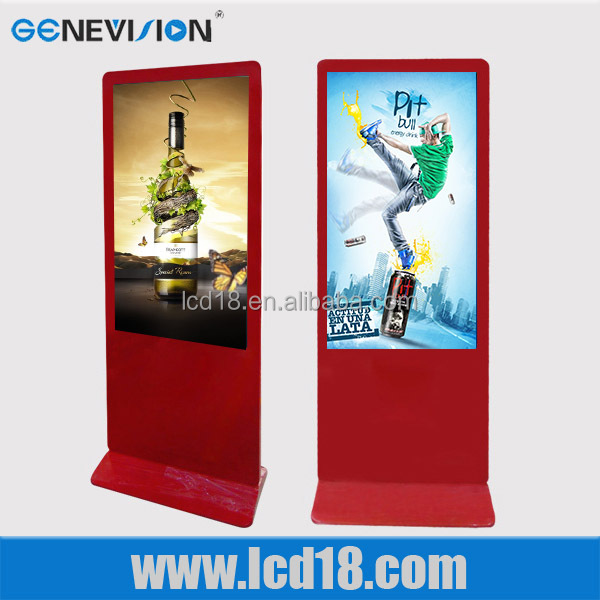 55 inch Floor Standing Red frame Android Wifi tocuh screen video streaming equipment