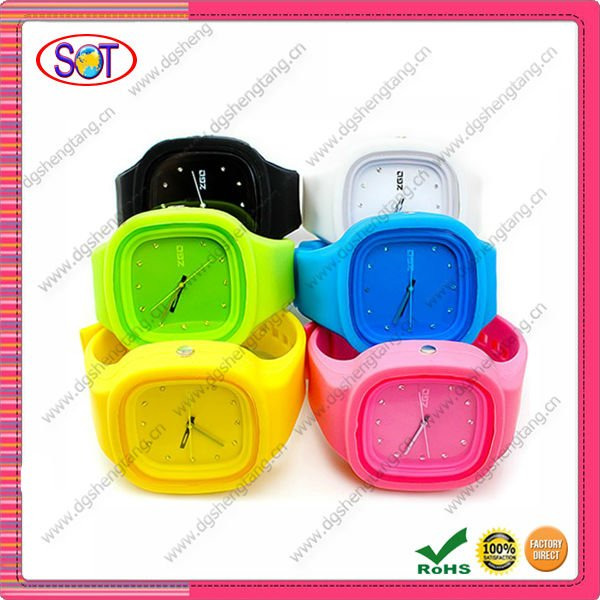 Square custom logo silicone jelly watches with 12 colors,digital watch