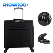 16inch Boarding Airplane Pilot Trolley Spinner Soft Fabric Luggage Case Bags