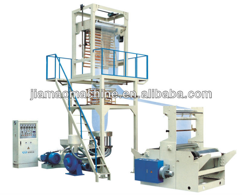 high output Rotary die head double rewinding pe film blowing machine