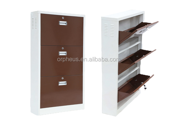 Elegant Ultrathin Design Metal Home Furniture 3 Layer Wall Mounted Steel Shoes Cabinet