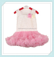Baby Petti Tutu For Girl Lace Party Dress Chiffon Cotton White Petti Top and Pink Tutu Dress With Flowers Wedding Dresses