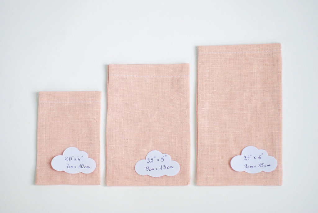 Blush cream linen drawstring bags with small ribbon
