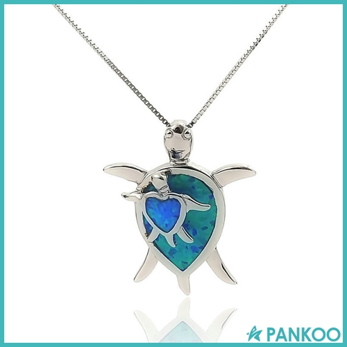 Ocean Series Fashion Jewelry 925 Sterling Silver Synthetic Opal Turtle Necklace