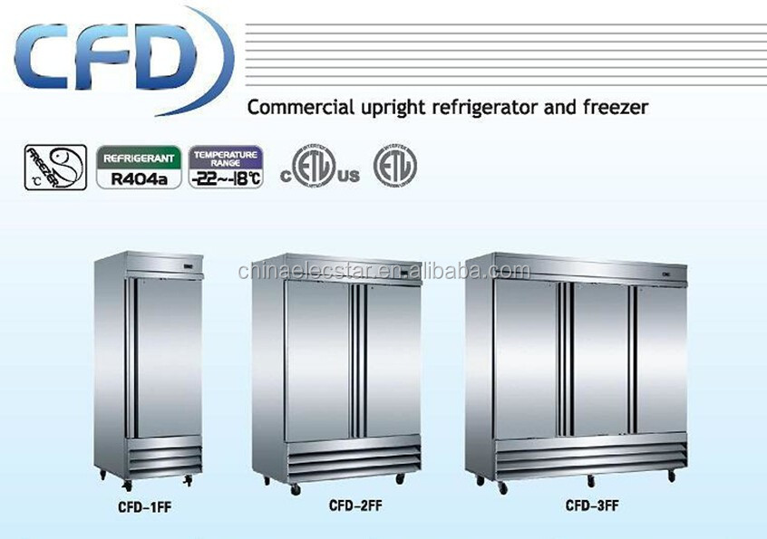 Reach-in solid swing door freezer, Conforms to UL/NSF, Stainless Steel kitchen refrigerator, catering equipment
