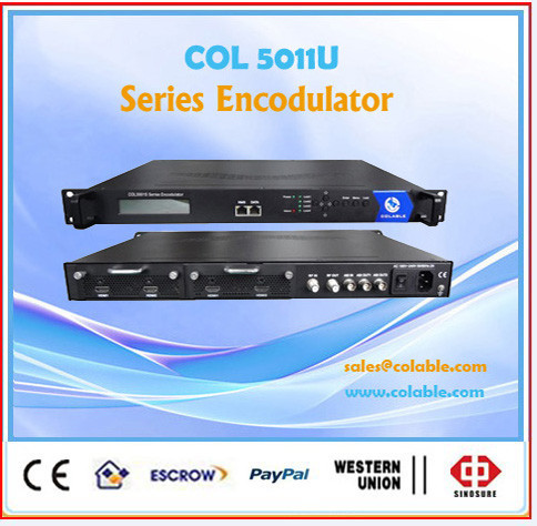 Digital tv broadcasting equipment, hd video audio mpeg4 encoder modulator COL5011U