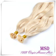 Perfect Blonde Color Cheap Wholesale Human Virgin Hair Extension Russian Flat Tip Pre Bonded Hair