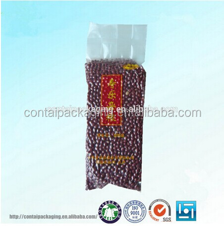 Hot cheap rice / beans / nuts / peanuts food package vacuum plastic bag with tear notch