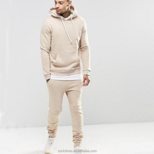 Plain tan wholesale men winter blank sweatsuit men tracksuit