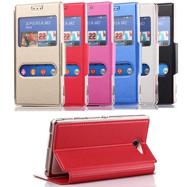 flip dual window view leather mobile phone case for sony xperia m2