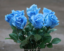 New products latex artificial blue rose plants sale