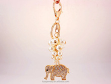 Custom thailand elephant keychain animal key holder with pearls KEL0152
