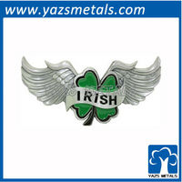 customize belt buckles, custom Irish clover with wings belt buckle